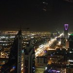Night view of the Kingdom tower from Al Faisaliah tower / globe level.
