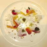 Cuttlefish and watermelon salad, bottarga and coconut milk (fantastic!)