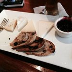 Cheese plate; local cheeses from New England, fresh black berry jam & mint, raisin toast.