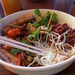 Vermicelli (Bun) with Special Combination (Grilled Beef, Pork, Chicken, Shrimp and Egg Roll)