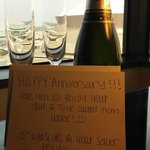 Champagne toast found in our room from hotel