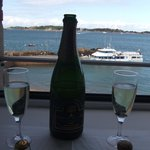 Looking towards the Ile de Brehat, celebrating with sparkling wine!