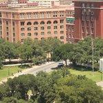 Book Depository and Dealey Plaza from our Hotel