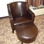 nice leather chair and ottoman. looked new