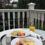 Delicious breakfast on our private balcony in Room 8.
