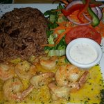 Garlic shrimp w/ rice & peas...mouth watering flavor