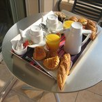 in-room breakfast served on the private balcony