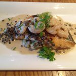 Wild sea bass with Lentils