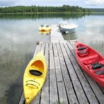 The dock and some of the water sports equipment