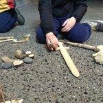 Rocks, shells, bones and carved wooden toys