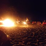 beach party, fire eaters