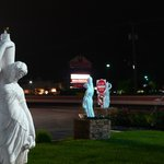 Front garden statuary at night