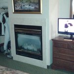 Fireplace and closet area
