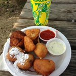 Fried oreos, fried cheese and ravioli with lemonade