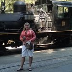 Deb in front of Mountain Sugar Pine Train!