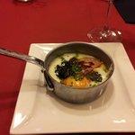 Skillet of foie gras, egg, mushroom and pureed potato