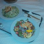 Room Service:  Chicken Ceasar Salad and Spinach Salad with Shrimp
