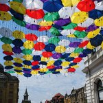 Umbrellas installation, Alba Iulia street