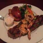 New York steak/shrimp with roasted potatoes