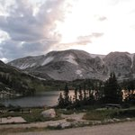 "Sunset, Looking over Lewis Lake to the ""saddle' and Medicine Bow Peak"