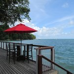 View from the deck to the private jetty
