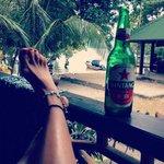 Drinking a Bintang on my bungalow's terrace