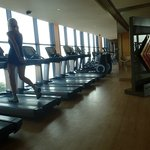 Hotel gym with beach view