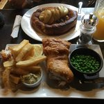 Toad in the hole and Fish and Chips -  as good as it looks!!