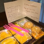 They sent Thai desserts to our rooms for greeting our marriage.
