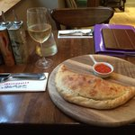 My calzone; beautifully presented, but a little bland.