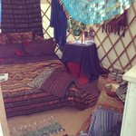 The bed in the yurt