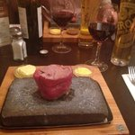 Steak on a stone, delicious!