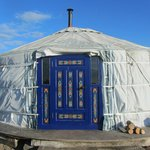 front of Snowdrop yurt where we stayed