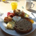 buffet breakfast sitting outside