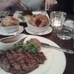 Excellent steak and crispy onion rings