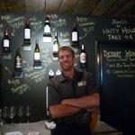 Bartender and wine menu