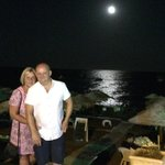 Moon shining on the sea at Kamari beach front-lovely
