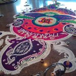Floor art  in colored sand for the Diwali festival.