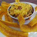 My dad ordered chili with chedder cheese and plaintain chips! YUM!