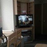 Big TV, spacious living room area