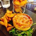 Pieminster chicken & bacon pie with black pepper wedges.