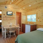 Inside of a Deluxe Studio cabin. Sleeps up to 4 people.