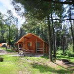 2 Room Primitive Camping Cabin. Includes sleeping mattresses, heat, A/C & electricity.