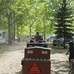 Kiddie train drives around the campground