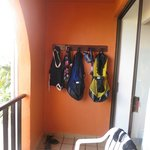 hooks on balcony for dive gear