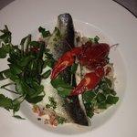 Sea bass and cray fish pasta