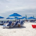 Beach chair and umbrellas available
