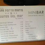 Minibar menu