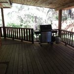 Tamanos back deck with BBQ and picnic table