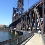 one of many bridges with bike and pedestrian pathways across the Willamette River.